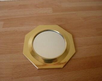 Brass octagonal mirror