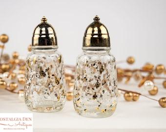 Vintage Salt & Pepper Shakers   MCM Hazel Atlas Glass Gold / White Splatter Print