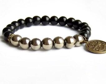 Zodiac astrology Pisces sign bracelet, Black onyx hematite bracelet, pyrite color bracelet for men women,  Charm Virgo Scorpio Leo