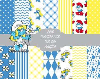 Smurfs digital paper kit / Kit of digital papers of the Smurfs