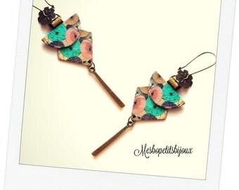 long earrings elegant, Japanese inspired