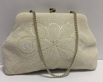 Goldco Purse - White Beaded Purse - White Beaded Evening Bag - Beaded Handbag - Girly Bag - Chic Handbag - Flower - Bridal Handbag - Japan