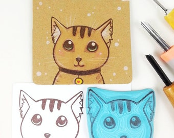 hand carved rubber stamp cute cat cat face head handmade for scrapbooking scrapbook stamp striped little cat big stamp tabby cat
