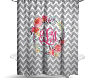"Personalized Shower Curtain - Grey Chevron Floral Pink Wreath Shower Curtain -70"" X 72"" Washable Polyester Curtain HomeDecor Bathroom"