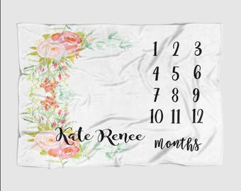 Baby Month Milestone Blanket- White Floral Frame -30 X 40 Personalized Baby Blanket Track Growth and Age oddler New Mom Baby Shower Gifts