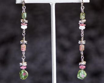 Watermelon tourmaline slice earrings with tourmaline, pink sapphire, moonstone and sterling silver