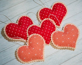 Red hearts Cute ornaments Valentines gift Christmas gift Home decor Baby mobile Heart ornament Felt hearts Christmas decor cute hearts