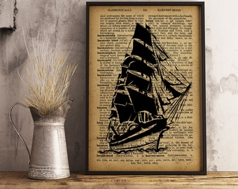 Frigate Print, Old Ship Dictionary Art Print, Nautical print Vintage Frigate art, Frigate drawing Home Decor, Gift for sailor (K22)