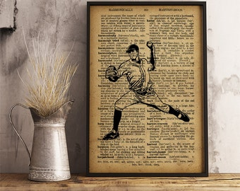 Baseball Pitcher print, Sports Baseball Print, Vintage Baseball Pitcher Poster, sports collage man cave decor, Baseball Pitcher V17