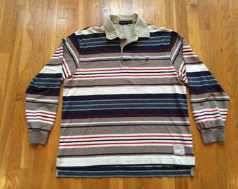 Vintage Nautica Sportswear longsleeve rugby size XL polo shirt striped sailboat