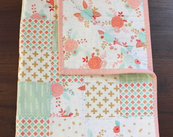 Floral Baby Quilt, baby quilt, baby girl quilt, crib quilt, crib bedding, nursery bedding, floral baby, coral mint gold nursery,baby blanket