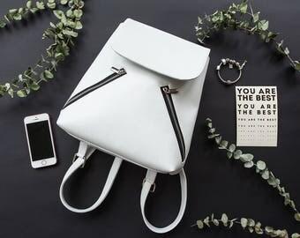 Vegan leather city backpack, Vegan Eco Faux leather, White backpack, Vegan leather backpack, Mini backpack, minimal style backpack