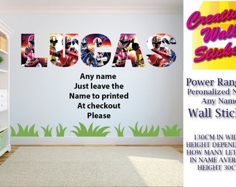 Power Rangers wall art sticker ANY NAME Childrens Bedroom Wall Decal.