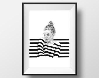 Pencil Drawing, ART PRINT, Stripes, Portrait, handmade