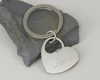 Personalized Heart Keychain, Silver Heart Key Ring, Custom Engraved Key Chain, Steel Initial Key Chain Monogrammed Gift Ring Key Fob  2647