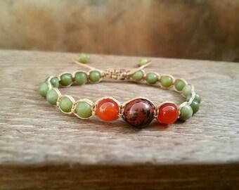 Shamballa bracelet Green Jade Earthy bracelet Yoga jewelry Healing bracelet Heart chakra Lusky bracelet Obsidian Agate Jade Macrame bracelet