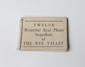 Vintage The Wye Valley 12 real photo snapshot souvenir booklet. Photograph book of the Wye Valley. Vintage photographs.