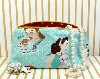 Retro Makeup Bag, Glamorous Makeup Bag, Pinup Makeup Bag, 50s Makeup Bag, Teal Makeup Bag, Polkadot Makeup Bag, Polka Dots, Pinup Bag