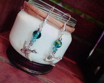 Blue Sparrow Bird Earrings Dangle Glass Sterling