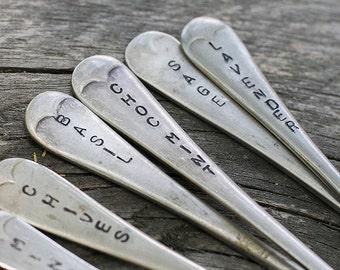 3 Custom herb signs // Upcycled cutlery garden sign // Herb garden marker // Stamped cutlery // Vintage silver spoons forks // Garden lover