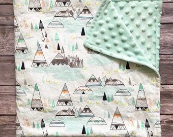 Teepee Baby Bedding, Woodlands Baby Bedding, Personalized Baby Blanket,Teepee Baby Blanket, Woodlands Baby Blanket, Gender Neutral Baby Gift