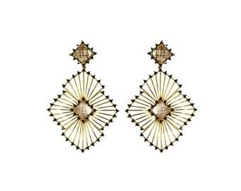 Sunshine Drops - Gold Earrings - 18K Gold Plated Statement Earrings - Edgy Earrings - Modern Earrings - Exquisite Earrings - Prom earrings