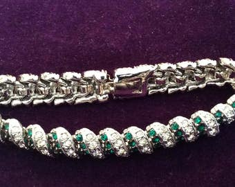 Emerald green and crystal rhinestone bracelet 7 inches long # 176
