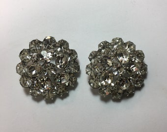 Two Vintage Rhinestone Matching Brooches