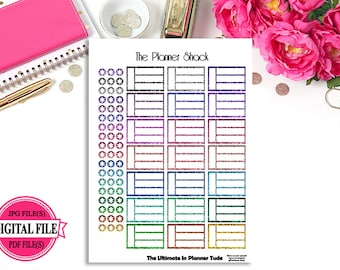 Glitter Task Boxes - Big Happy Planner - Printable Planner Stickers