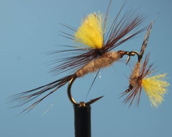 3-pak Parachute March Brown flies, Trout flies, Mayflies, dry flies, hand tied flies, parachute dry flies