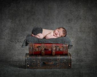 digital backdrop  background newborn baby girl or boy  gray  brown vintage suitcases