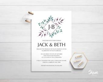 The J&B Wedding Invitation, Modern Botanical Wedding Invitation, Type Wedding Invitation