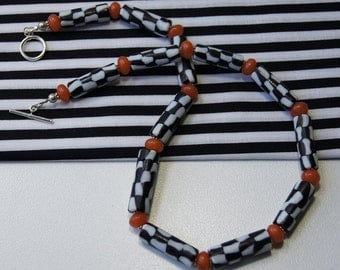 Black and White Handmade Glass Beads and Faux Amber Necklace EI 426