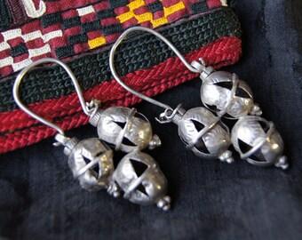 Tajik Turkmen Ethnic Silver Dangle Earrings TJ 10