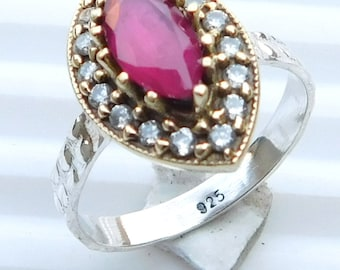 Red Ruby Ring Ruby , Zircon Faceted Ring Sterling Silver Ring Ruby Gemstone Ring Two Tone Ruby Silver Ring  Red Ruby Ring Size 8 E-140