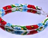 necklace,beads necklace,beadcrochet,crochet bead necklace,crochet rope necklace,Modern necklace,Seed beaded necklace,Seed bead rope,bib neck