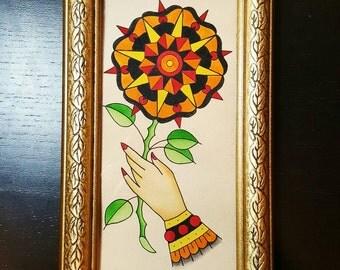 Original, Framed, Geometric Flower Traditional Tattoo Flash Painting