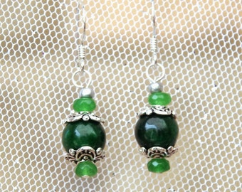 Emerald earrings - Genuine gemstones - Sterling silver hooks - May birthstone