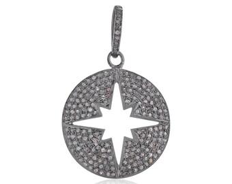 Pave Diamond Pendant 925 Sterling Silver Starburst Jewelry