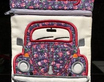 Make up pouch, love bug pouch, make up bag, pencil case
