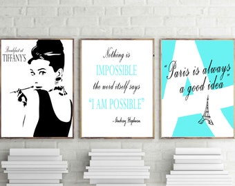 Audrey Hepburn Print Breakfast at Tiffany's Digital Download teen Turquoise Wall Decor set of 3 teal instant downloads prints make up room