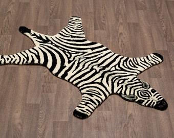 Handmade Zebra Skin Wool Rug