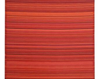 Indoor Outdoor Red Multi Stripes Reversible Plastic Rug