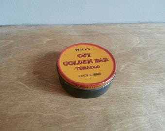 Small Wills Cut Golden Tobacco Tin 'Ready Rubbed' (Empty) - Vintage Storage Tin