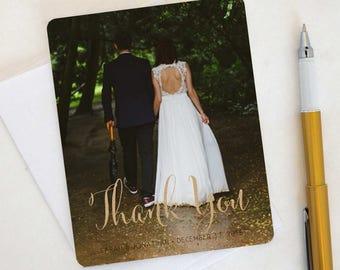 Fun Flip Wedding Thank You Card, Custom Photo Wedding Thank You Cards Gold Foil Wedding Thank You Cards Vintage Gold Foil Wedding Sarah11