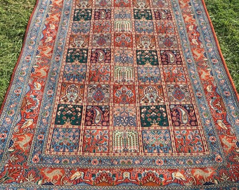 "Persian Rug Hand-Knotted Mood Silk In Laid (Terracotta, Blue) 250cm x 140cm (8'2"" x 4'6"")"