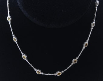 18K White Gold Necklace/Diamond- 1.55ct/Yellow Sapphire- 3.00ct/Gold- 30 Grams