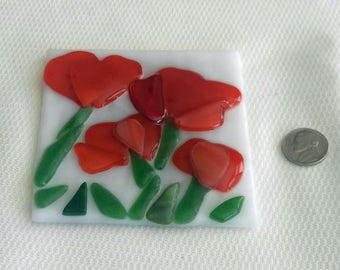 Flower Coasters-Fused Glass Coasters-Glass Coasters-Home Decor-Drink & Barware