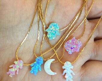 Opal Stone Charms (girls, boy, Hamsa Hand, Pig, Moon) Necklaces