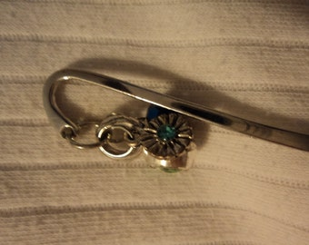 3 1/2 in bookmark with blue green gems